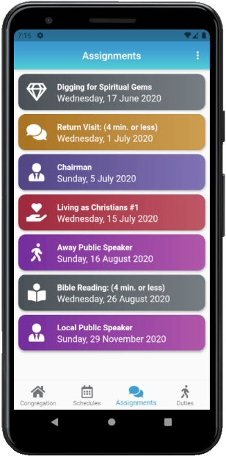 JW Scheduler - Publisher Edition iOS & Android Assignments Medium