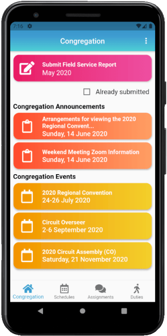 JW Scheduler - Publisher Edition iOS & Android Phone Congregation Medium